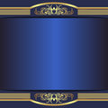 Luxury blue Background with elegant golden Borders and Place for Text
