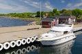 Luxury boat moored to Hano island pier Royalty Free Stock Photo