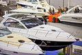Luxury Boats In the Stand Of Cranchi Royalty Free Stock Photos