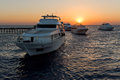 Luxury boats at sunset Royalty Free Stock Photo