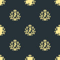 Luxury boutique Royal Crest high quality vintage product heraldry seamless pattern brand identity vector illustration. Royalty Free Stock Photo