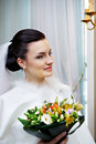 Luxury bride with a bouquet of flowers Stock Photo