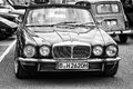 Luxury car daimler double six jaguar xj berlin may front view black and white th oldtimer tage berlin brandenburg may berlin Royalty Free Stock Photography