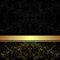 Luxury charcoal background with golden lacy border and ribbon Stock Photos