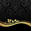 Luxury charcoal ornamental background with golden floral border is presented Royalty Free Stock Photos