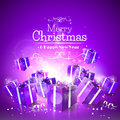 Luxury christmas greeting card with purple gift boxes Royalty Free Stock Image