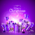 Luxury christmas greeting card with purple gift boxes and baubles Royalty Free Stock Photography