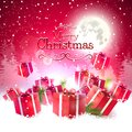 Luxury christmas greeting card red gift boxes in the snow Stock Image