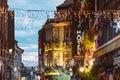 Luxury Christmas neon hotel sign travel destination Royalty Free Stock Photo
