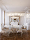 Luxury classic interior of dining room and living room