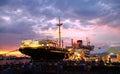 Luxury cruise in yokohama port ,the under the sunset Stock Photos