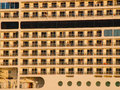 Luxury cruising ship closeup view from the left at cabins balcony Royalty Free Stock Images