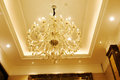 Luxury crystal chandelier in hotel  hall Royalty Free Stock Photo