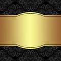 Luxury damask Background with golden Frame for your Information Royalty Free Stock Photo