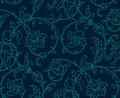 Luxury damask seamless pattern blue color vector illustrations eps Royalty Free Stock Photos