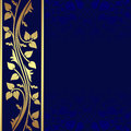 Luxury dark blue background with golden border is presented Royalty Free Stock Photography