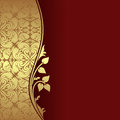 Luxury dark red background with ornamental border decorated a golden floral elements Stock Photos