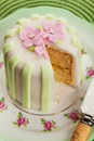 Luxury decorated mini cake with pink petals on a green background Stock Photo