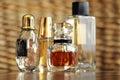 Luxury designer perfume fragrance bottles Royalty Free Stock Photo