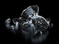 Luxury diamonds on black background Stock Photos