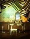 Luxury drape and vanity set Royalty Free Stock Image
