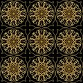 Luxury elegant background with golden filigree circular lace patterns on black background, embossed ornament in antiquarian style