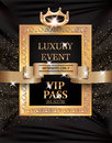 Luxury event VIP PASS with vintage frame, gold ribbon and fabric background.