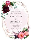Luxury fall flowers wedding vector bouquet card Royalty Free Stock Photo