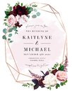 Luxury fall flowers wedding vector bouquet card. Royalty Free Stock Photo