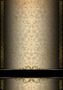 Luxury floral black brown and gold background template of aged texture with ornate seamless golden plaque Stock Image