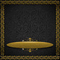 Luxury floral black and gold velvet background template of aged gray texture with ornate seamless golden plaque Stock Photos