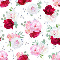 Luxury floral seamless vector print with peony, alstroemeria lily Royalty Free Stock Photo