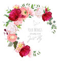Luxury floral vector round frame with ranunculus, peony, rose, carnation, green plants on white