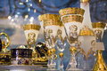 Luxury goblets in white and golden color closeup photo with lots of copy space Royalty Free Stock Photography