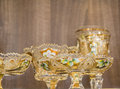 Luxury goblets in white and golden color closeup photo with lots of copy space Royalty Free Stock Image