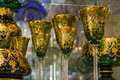 Luxury goblets in white and golden color closeup photo with lots of copy space Royalty Free Stock Images