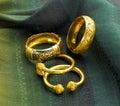 Luxury gold bracelets Stock Photo