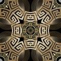Luxury gold 3d greek vector seamless pattern. Line art tracery elegance modern background. Repeat ornamental geometric Royalty Free Stock Photo