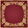 Luxury gold pattern frame on claret background. Square Royalty Free Stock Photo