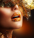 Luxury Golden Makeup Stock Images