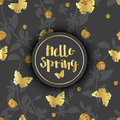 Luxury Golden Modern Background or Card. Hello Spring. Royalty Free Stock Photo