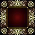 Luxury golden ornamental Frame on dark red. Royalty Free Stock Photo