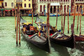 Luxury gondolas in venice two well finished luxurious floating on grand canal italy Stock Photo