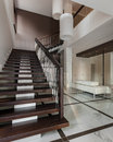 Luxury hall interior with staircase Royalty Free Stock Photo