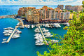 Luxury harbor and buildings in the lagoon,Monte Carlo,Monaco Royalty Free Stock Photo