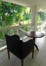 Luxury heritage hotel patio, garden view Royalty Free Stock Photo