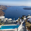 Luxury holiday resort with ocean view image of santorini greece Royalty Free Stock Images