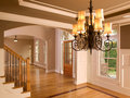 Luxury Home Entranceway with Ornate Hanging Light Stock Photography