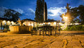 Luxury hotel garden night picture of a of a five stars in the centre of antigua guatemala Stock Photos