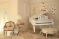Luxury hotel interior with white piano Royalty Free Stock Images